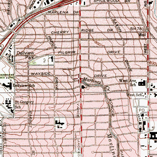Topographic Map of Church of Christ Vance Jackson, TX