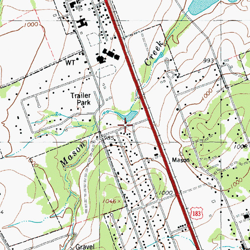 Topographic Map of Leander Church of God, TX