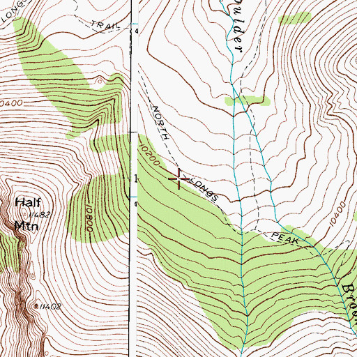 Topographic Map of Long Peak Trail, CO