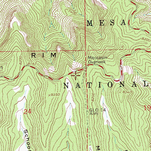 Topographic Map of Moccasin Mesa, CO