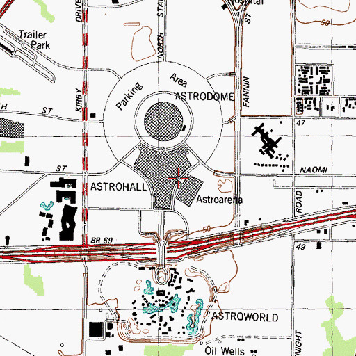 Topographic Map of Astroarena, TX