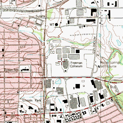 Topographic Map of SBC Center, TX