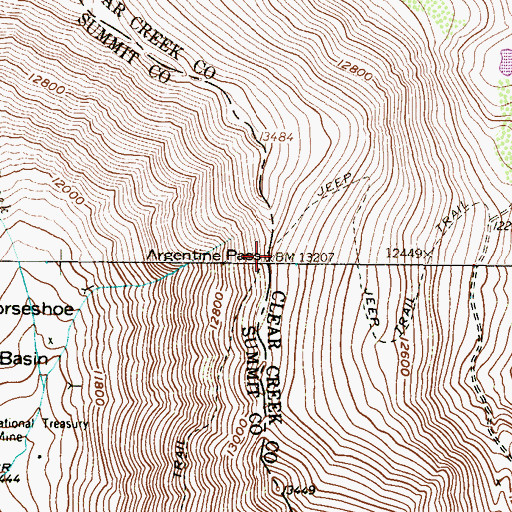 Topographic Map of Argentine Pass, CO