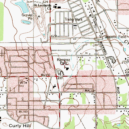 Topographic Map of Hutchins Park, TX
