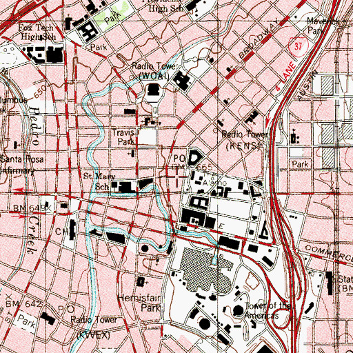 Topographic Map of Alamo Plaza Historic District, TX