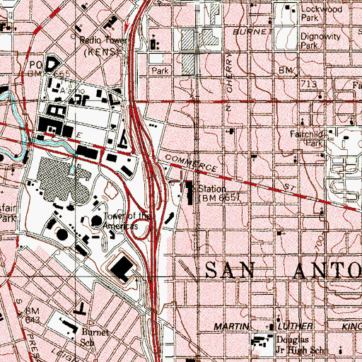 Topographic Map of Southern Pacific Railroad Passenger Station, TX
