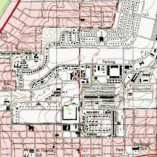 Topographic Map of Post Chapel at Fort Sam Houston, TX