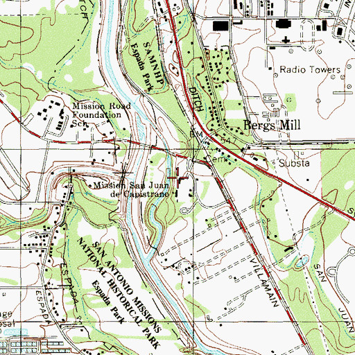 Topographic Map of Mission San Juan Capistrano, TX