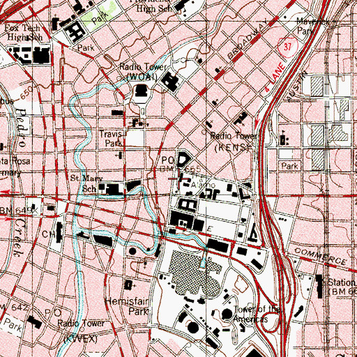 Topographic Map of The Alamo, TX