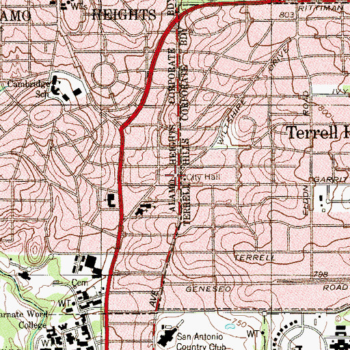 Topographic Map of Terrell Hills City Hall, TX