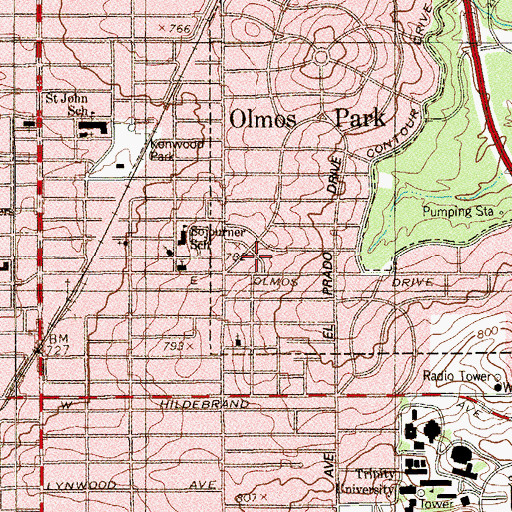 Topographic Map of Olmos Park City Hall, TX