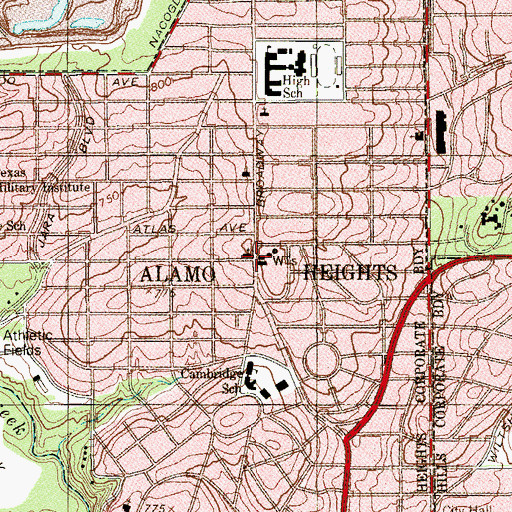 Topographic Map of Alamo Heights Police Department, TX