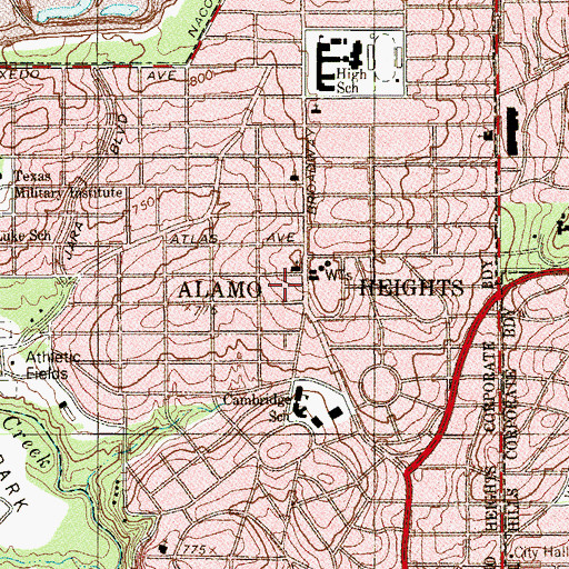 Topographic Map of Alamo Heights Presbyterian Church, TX