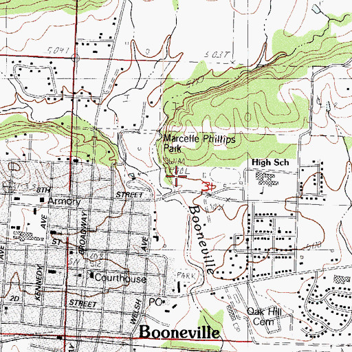 Topographic Map of Booneville Middle School, AR