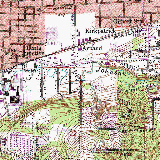 Topographic Map of Brookside Park, OR