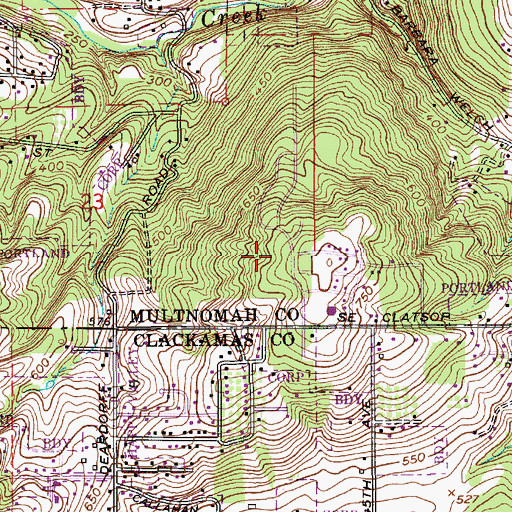 Topographic Map of Eastridge City Park, OR