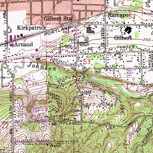 Topographic Map of Leach Botanical Garden, OR