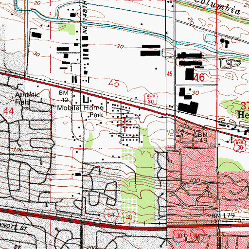Topographic Map of Wilkes City Park, OR