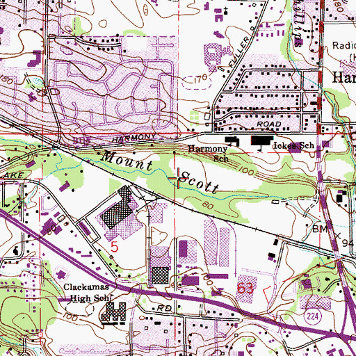 Topographic Map of Harmony Road Neighborhood Park, OR