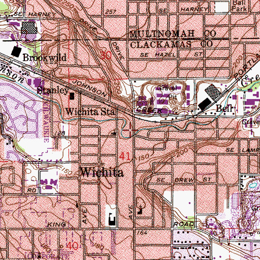 Topographic Map of Mill Park, OR