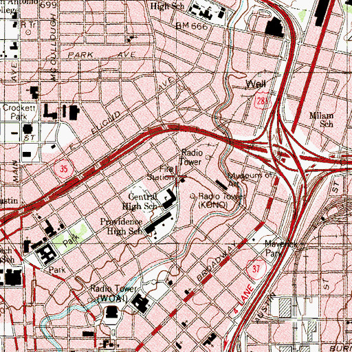 Topographic Map of San Antonio Fire Department Station 4, TX