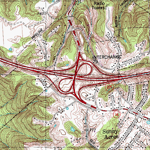 Topographic Map of Interchange 79, KY