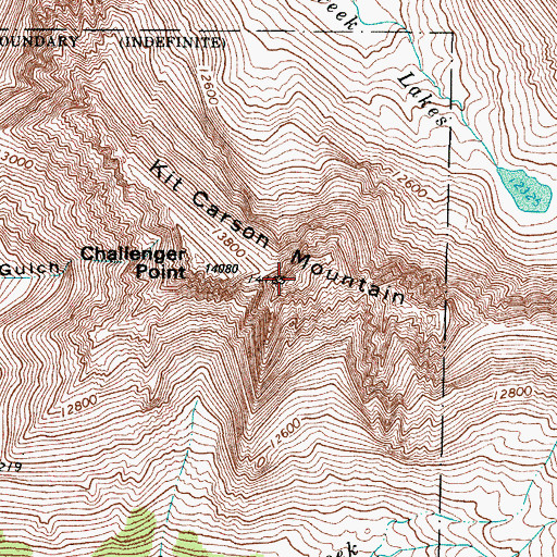 Topographic Map of Kit Carson Mountain, CO