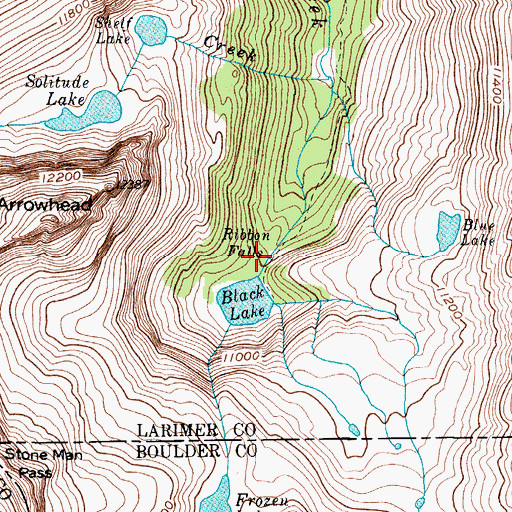 Topographic Map of Ribbon Falls, CO