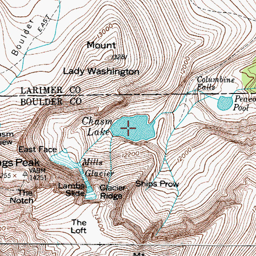 Topographic Map of Chasm Lake, CO