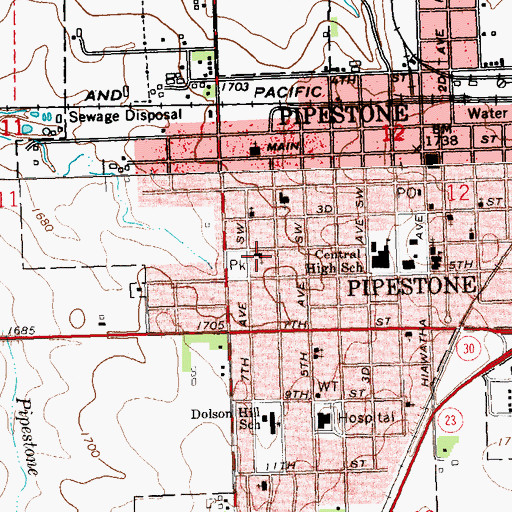 Topographic Map of First Lutheran Church, MN