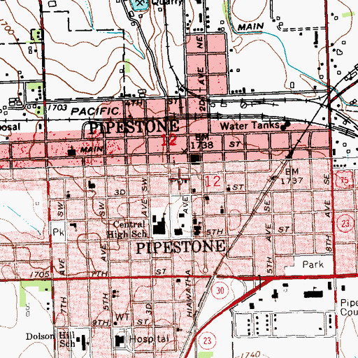 Topographic Map of Pipestone Post Office, MN