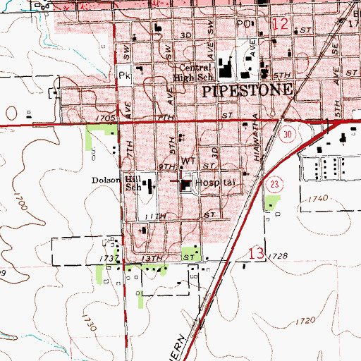 Topographic Map of Pipestone County Medical Center Avera, MN
