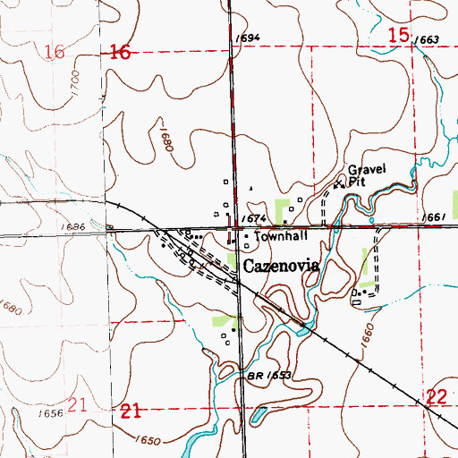Topographic Map of Cazenovia (historical), MN