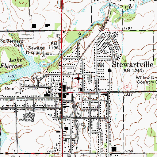 Topographic Map of Stewartville Care Center, MN