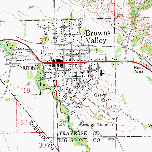 Topographic Map of Browns Valley Catholic Church, MN