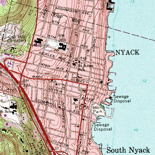Topographic Map of Nyack Volunteer Fire Department Jackson Engine Company 3, NY