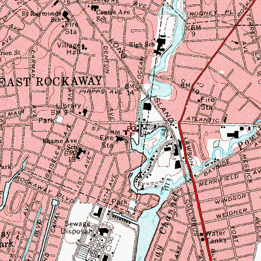 Topographic Map of East Rockaway Post Office, NY