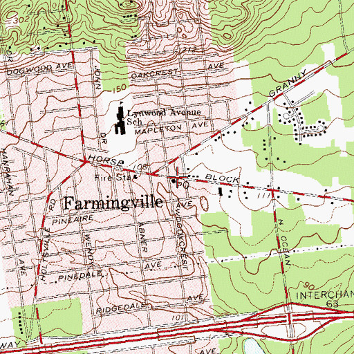 Topographic Map of Farmington Post Office, NY