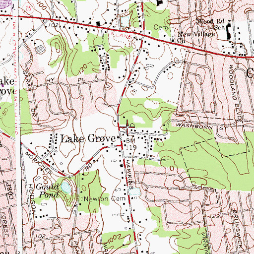 Topographic Map of Lake Grove Post Office, NY