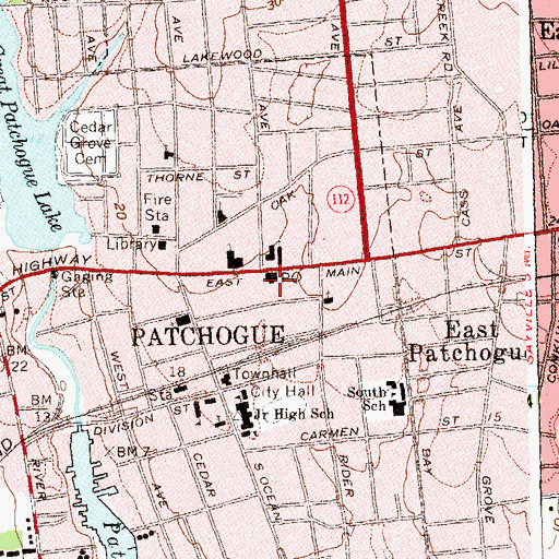 Topographic Map of Patchogue Post Office, NY