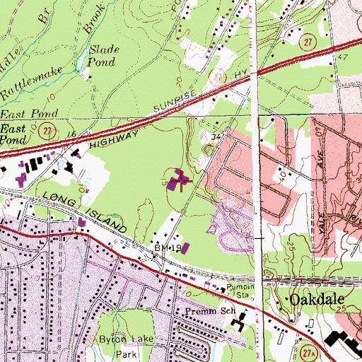 Topographic Map of Oakdale - Bohemia Junior High School, NY