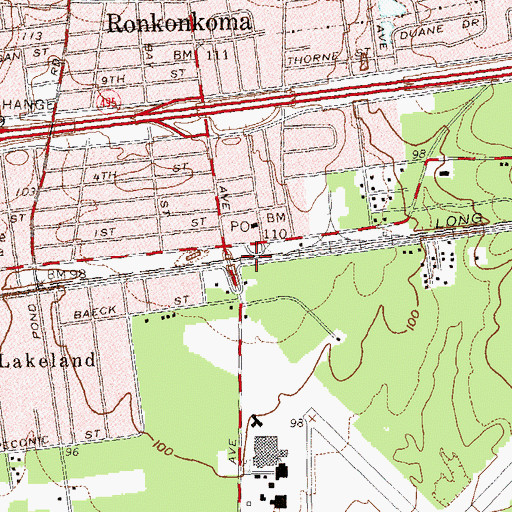 Topographic Map of Ronkonkoma Station, NY