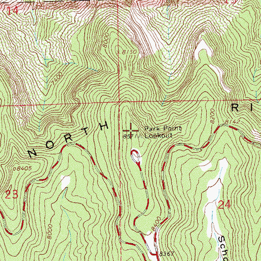 Topographic Map of Park Point Overlook, CO
