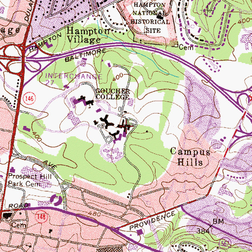 Topographic Map of Froelicher Hall, MD