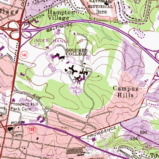 Topographic Map of Heubeck Hall, MD