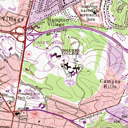 Topographic Map of Pearlstone Student Center, MD