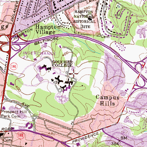Topographic Map of Sports & Recreation Center, MD