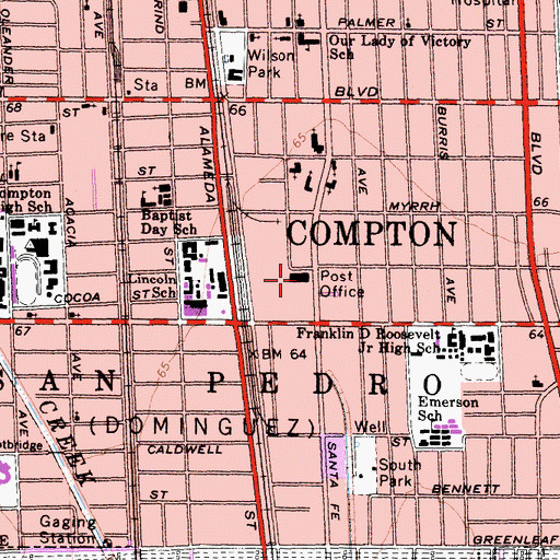 Topographic Map of Compton Post Office, CA