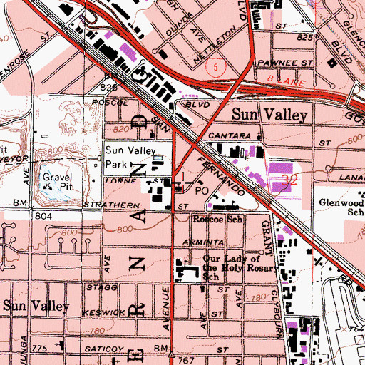 Topographic Map of Sun Valley Post Office, CA