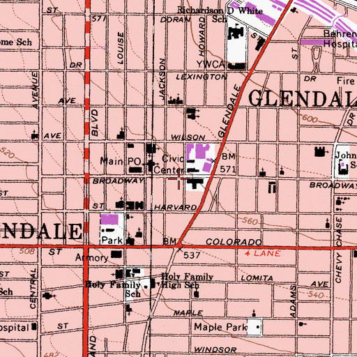 Topographic Map of Glendale County Building, CA